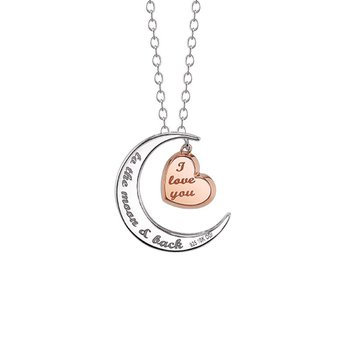 sterling silver moon and heart pendant