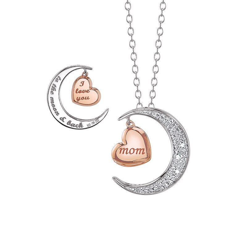 Greenberg's sterling silver moon and heart pendant