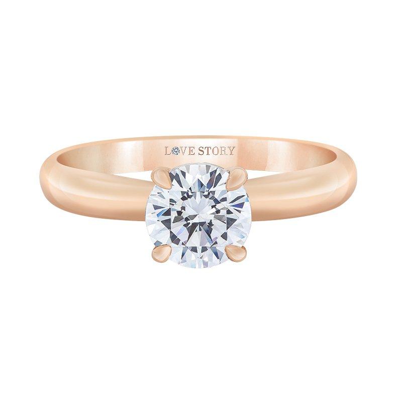 Love Story 14k rose gold .07ctw semi mount engagement ring