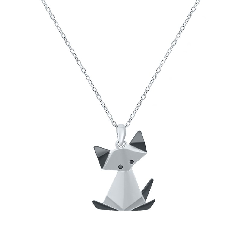 Greenberg's sterling silver origami cat pendant