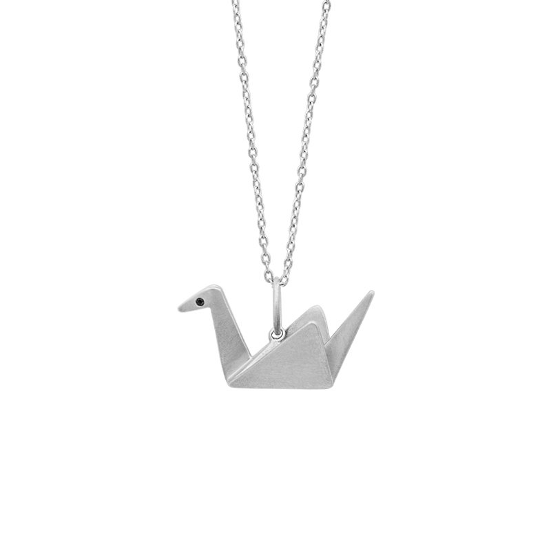 Greenberg's sterling silver origami crane pendant