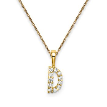 "14k yellow gold initial ""D"" pendant with chain"