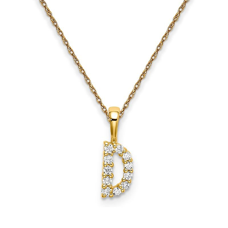 """Greenberg's 14k yellow gold initial """"D"""" pendant with chain"""
