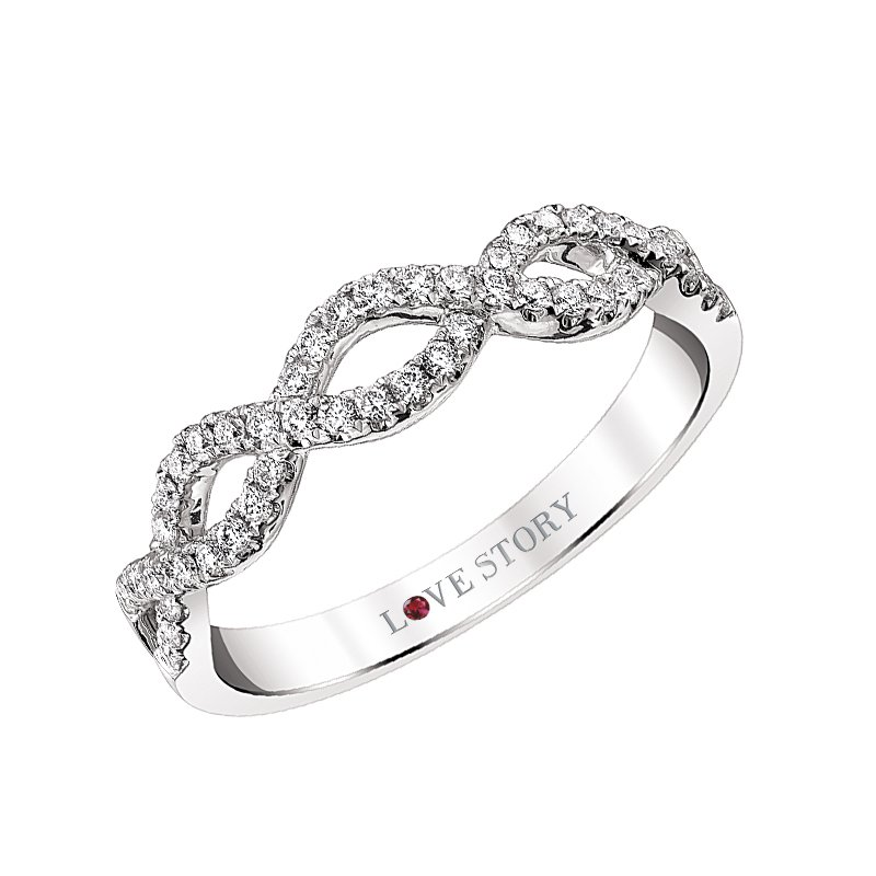 14k white gold 1/4ctw infinity-style anniversary band