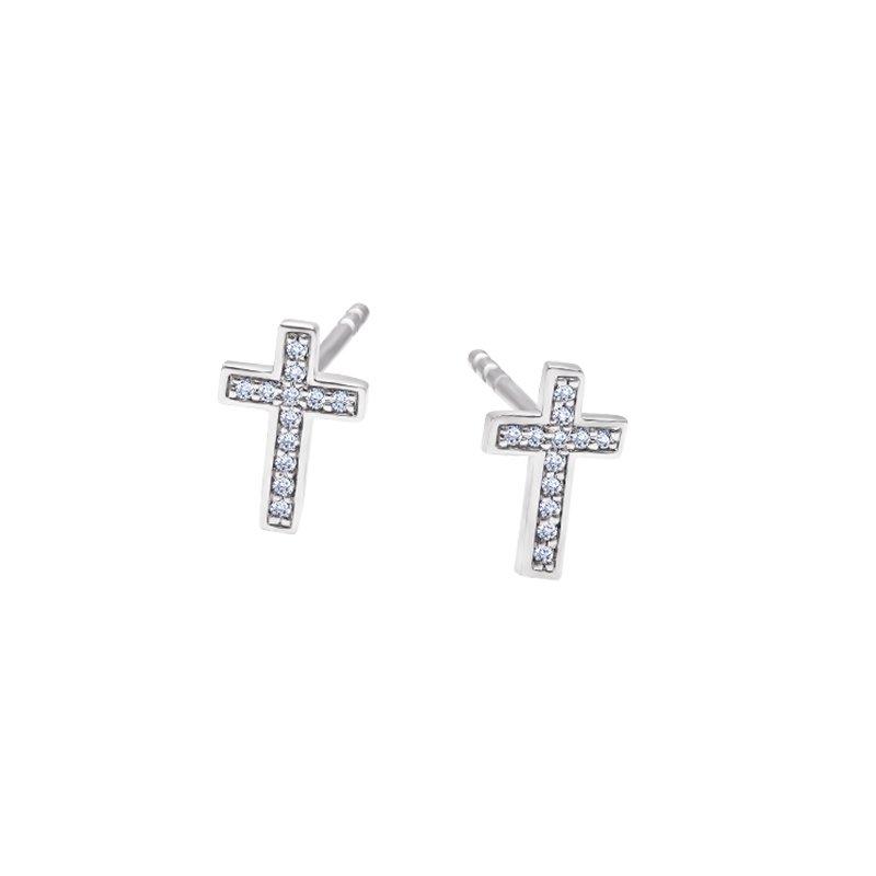 Greenberg's sterling silver diamond cross fashion earrings