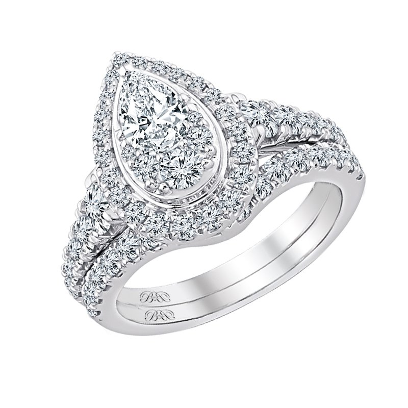 Beautiful Bride 14K WG 1-3/4ctw 1/2ct PS Center Diamond Bridal Set