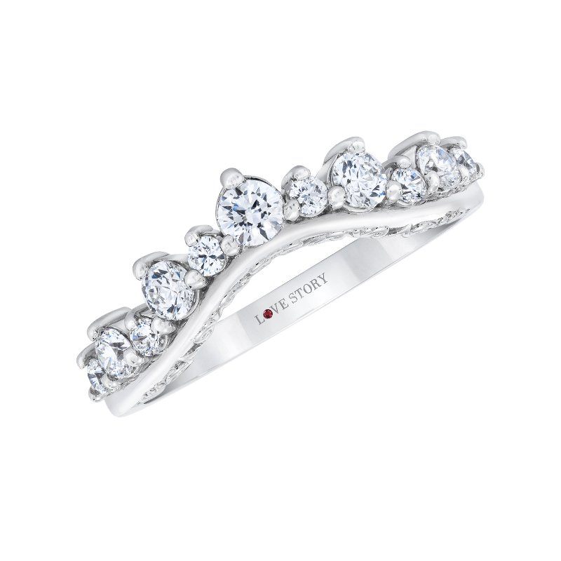 Love Story 14k white gold 1/2ctw curved wedding band