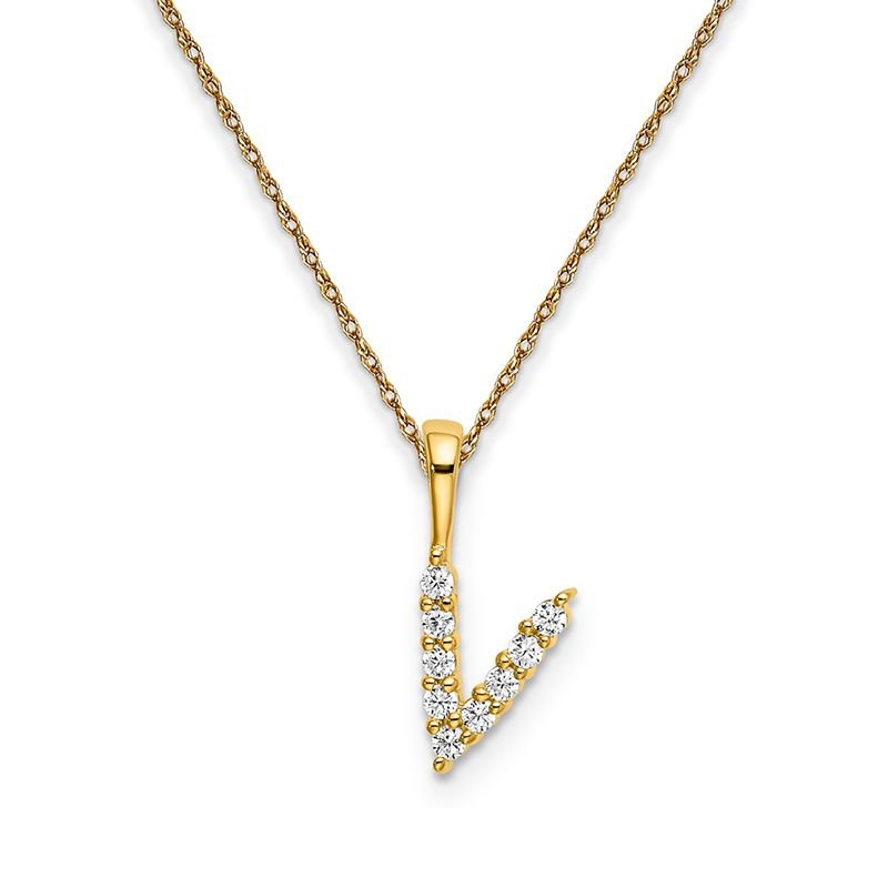"""Greenberg's 14k yellow gold """"v"""" initial pendant with chain"""