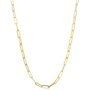 "14k yellow gold 24"" paper clip link chain"