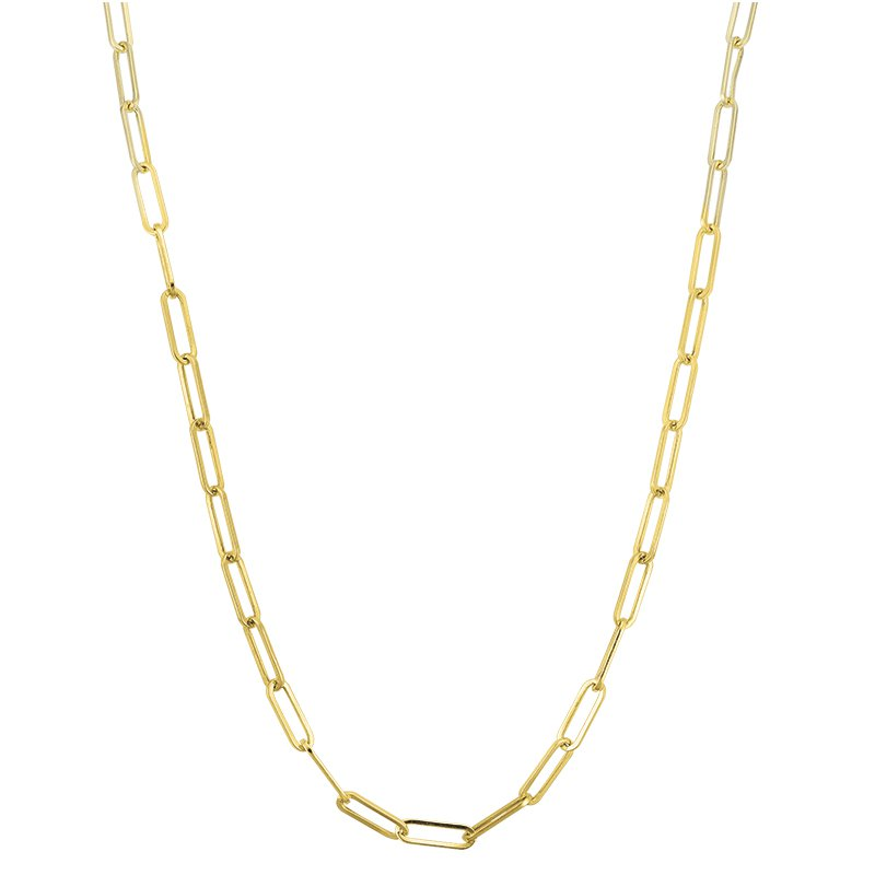 "Greenberg's 14k yellow gold 24"" paper clip link chain"