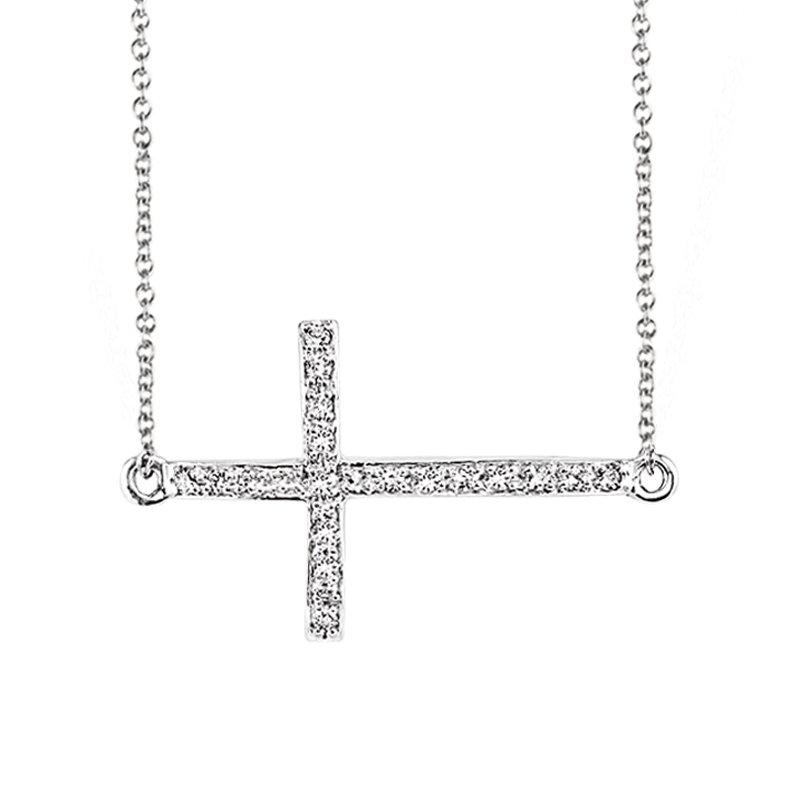 Greenberg's sterling silver 1/7ctw sideways cross