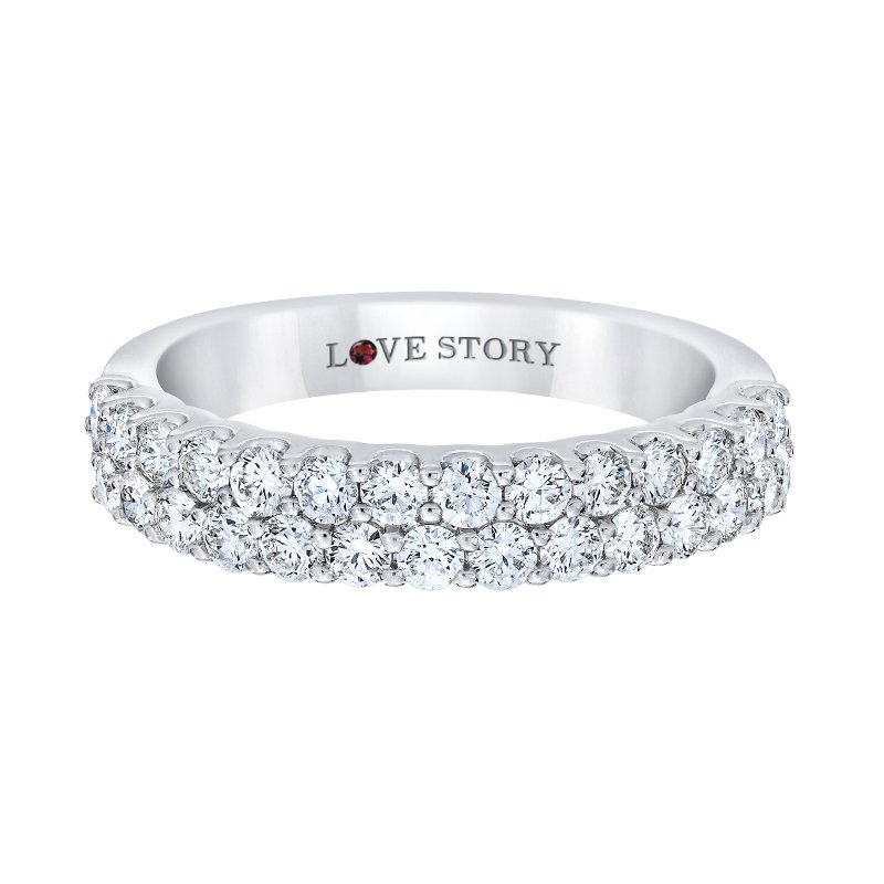 Love Story 14k white gold 1ctw two-row anniversary band