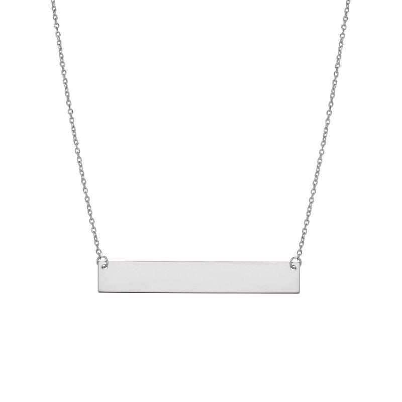 Greenberg's 14k white gold flat bar necklace