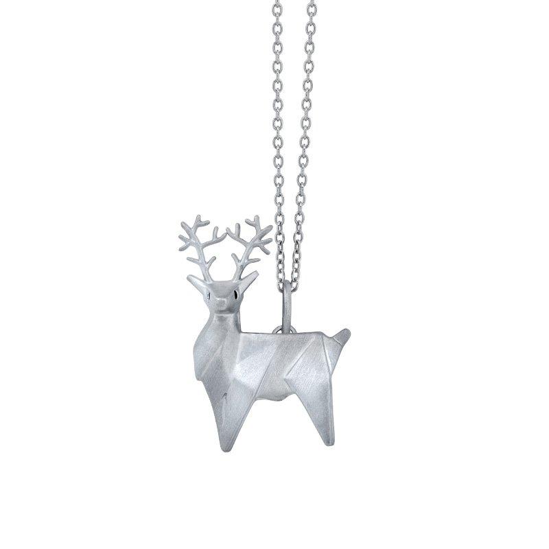 Greenberg's sterling silver origami reindeer pendant