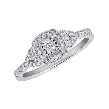10k white gold 1/4ctw diamond round promise ring