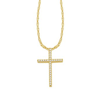 10k yellow gold fashion cross pendant