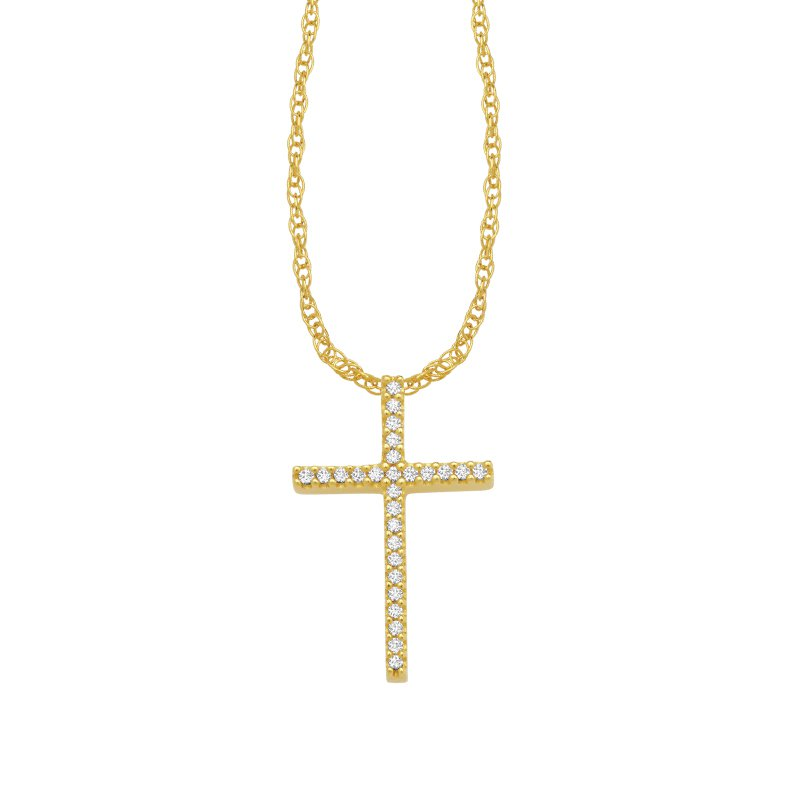 Greenberg's 10k yellow gold fashion cross pendant
