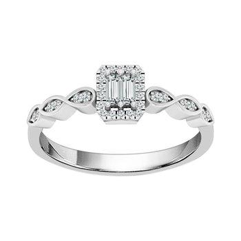 10k white gold 1/6ctw art deco diamond ring