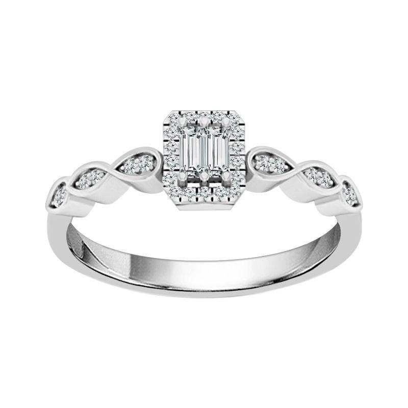 Greenberg's 10k white gold 1/6ctw art deco diamond ring