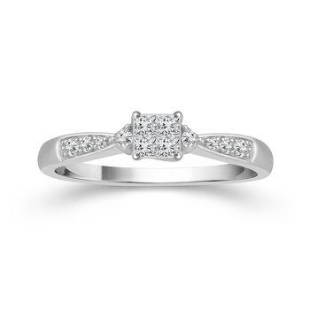 10k white gold 1/6ctw quad princess cut diamond promise ring