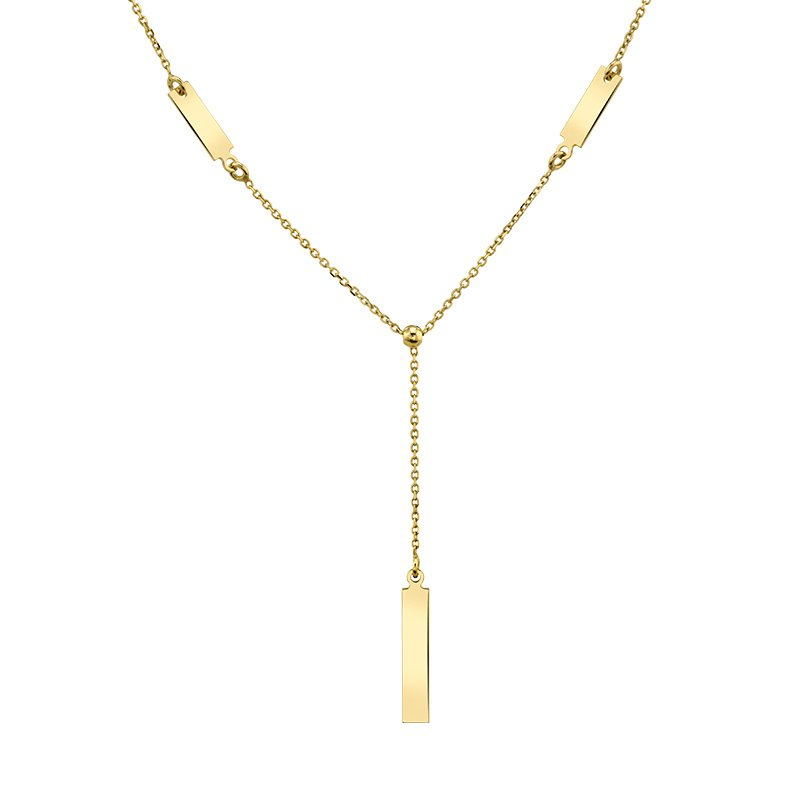 Greenberg's 14k yellow gold lariat style bar drop necklace