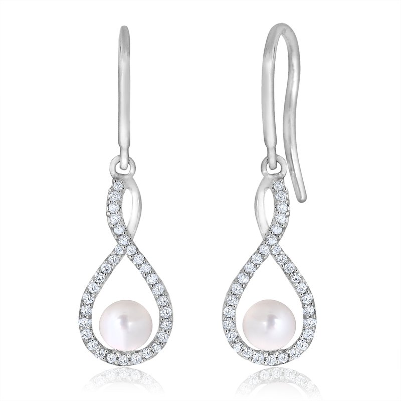 Greenberg's sterling silver and diamond pearl drop earrings