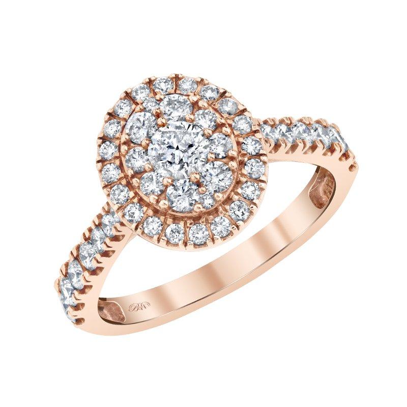 10K RG 3/8ctw Diamond Cluster Engagement Ring