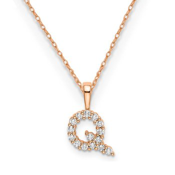 "14k rose gold initial ""Q"" pendant with chain"