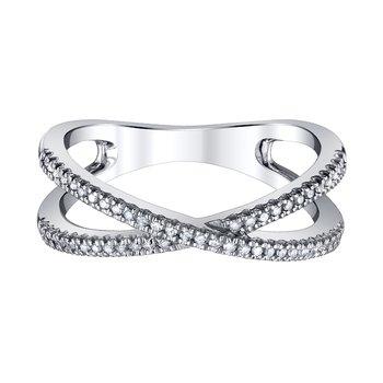 "sterling silver 1/10ctw  ""x"" diamond ring"