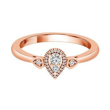 10k rose gold teardrop-shaped fashion ring