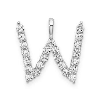 "14k white gold initial ""W"" pendant"