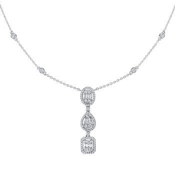 14k white gold 3/4ctw diamond drop lariat pendant