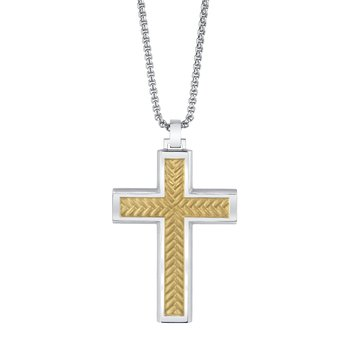 men's stainless steel gold cross pendant