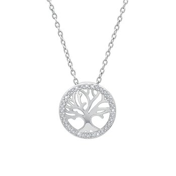 sterling silver 1/10ctw tree pendant