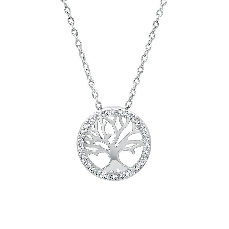 Greenberg's sterling silver 1/10ctw tree pendant