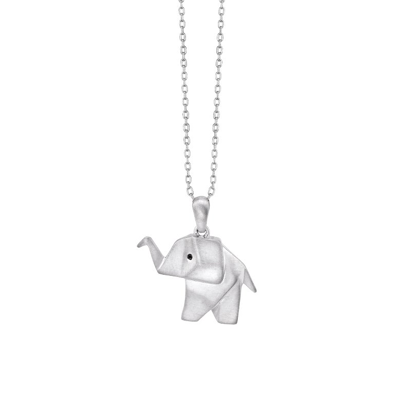 Greenberg's sterling silver origami elephant pendant