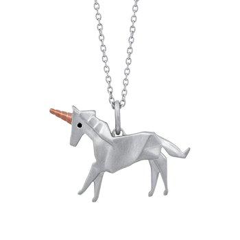 sterling silver origami unicorn pendant