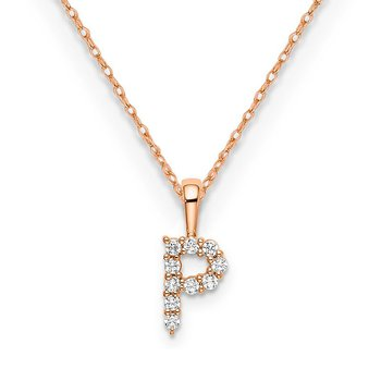 "14k rose gold initial ""P"" pendant with chain"