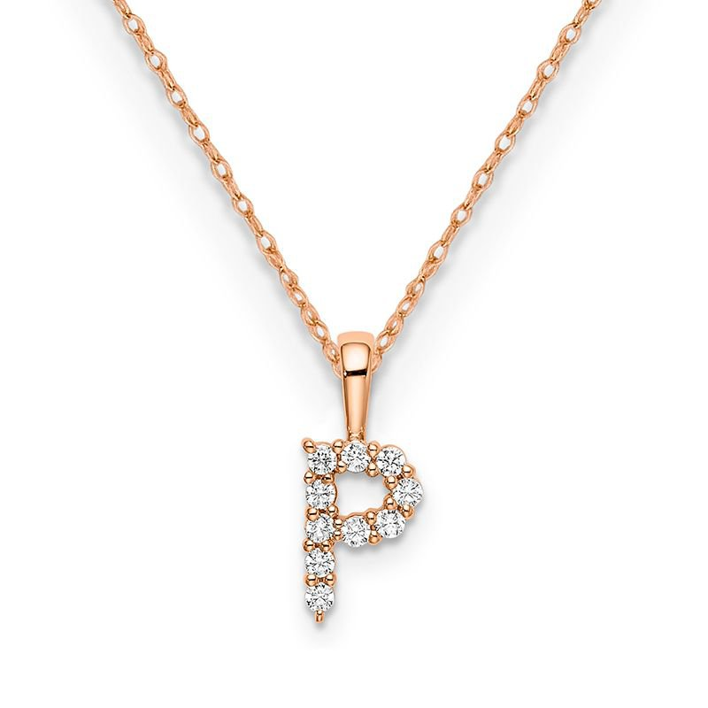 "Greenberg's 14k rose gold initial ""P"" pendant with chain"