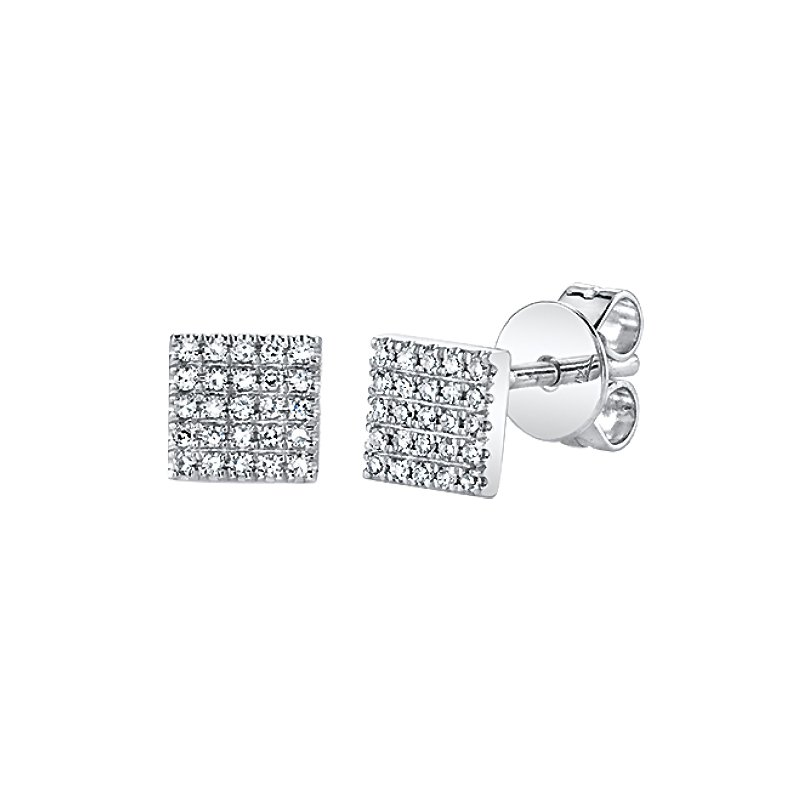 Shy Creation 0.11CTW 14K W/G Diamond Pave Square Earrings