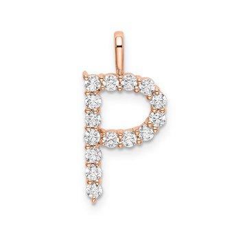 """14k rose gold initial """"P"""" pendant"""