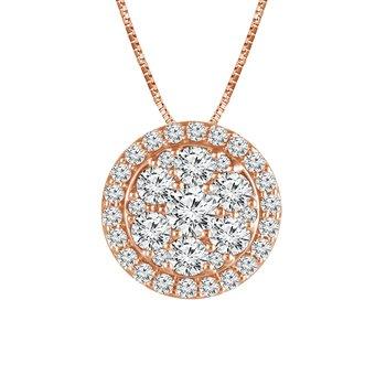 14k rose gold 1ctw diamond fashion pendant
