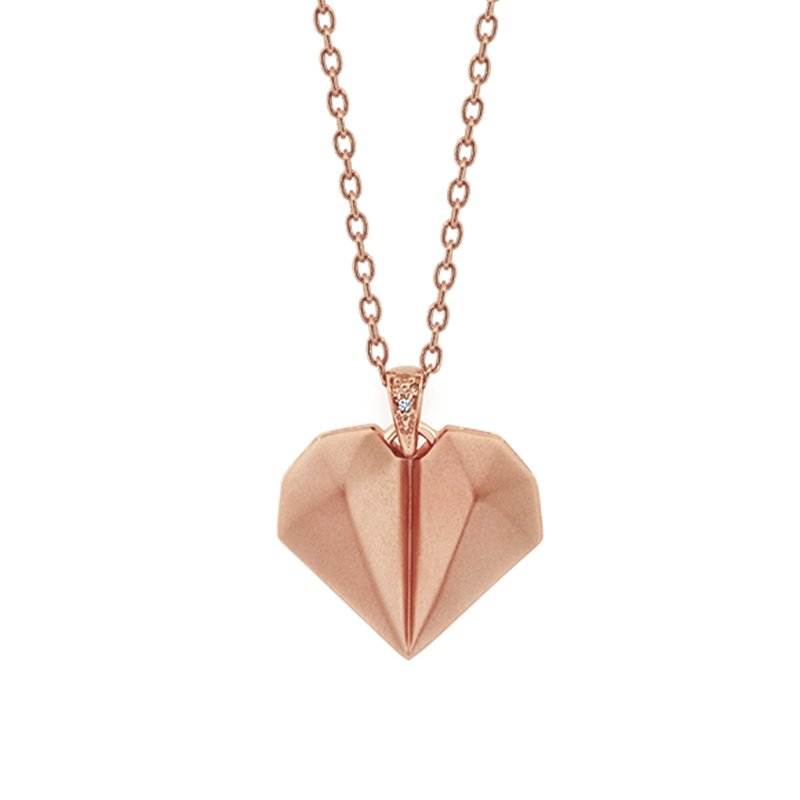 Greenberg's sterling silver with rose gold micron plating heart pendant