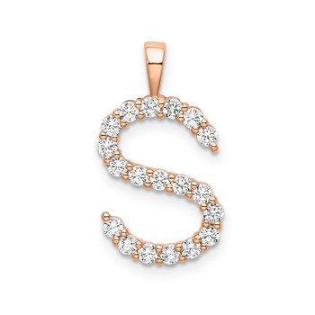 """14k rose gold initial """"S"""" pendant"""