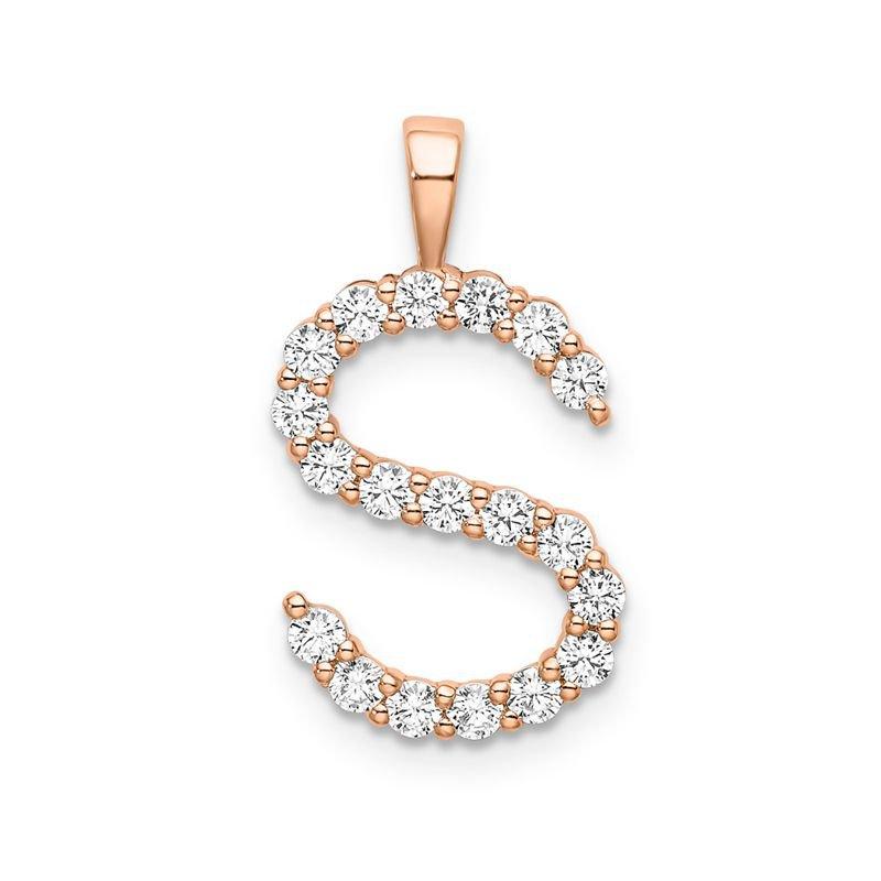 "Greenberg's 14k rose gold initial ""S"" pendant"