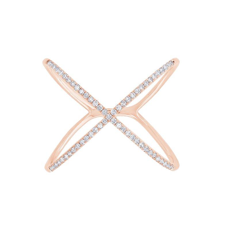 "Shy Creation 0.18CT Diamond ""X"" Ring"