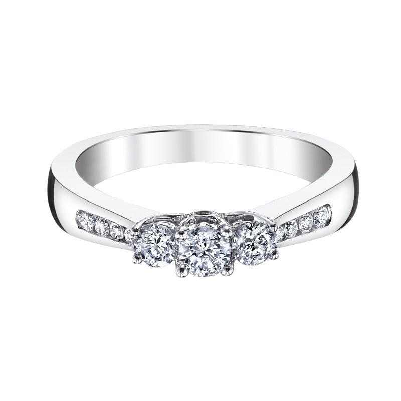 Greenberg's 10k white gold 1/2ctw three-stone diamond ring