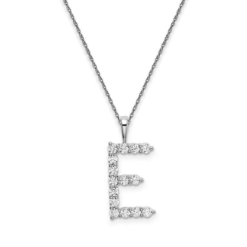 "Greenberg's 14k white gold initial ""E"" pendant with chain"