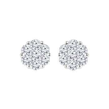 14K WG 1/2ctw Diamond Cluster Flower Earrings