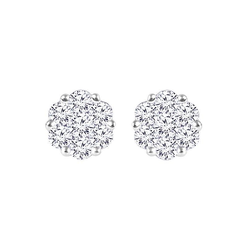 Greenberg's 14k white gold 1/2ctw diamond cluster flower earrings